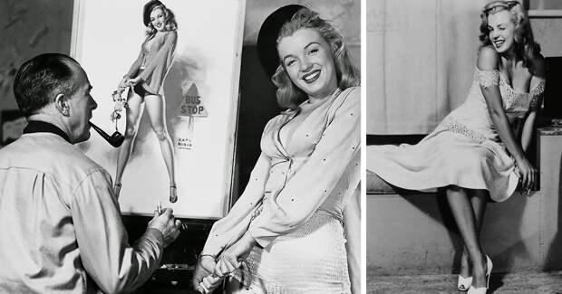 Будущий секс-символ Мэрилин Монро позирует для пинап художника Эрла Морана в конце 40‑хгодов