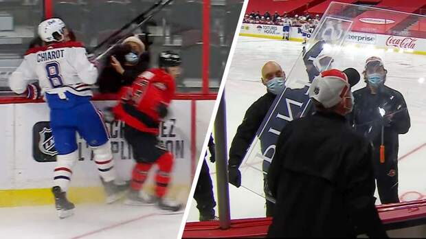 Забавный курьез с русским хоккеистом в НХЛ. На 10-й секунде матча Дадонов выбил стекло, жестко врезавшись в канадца