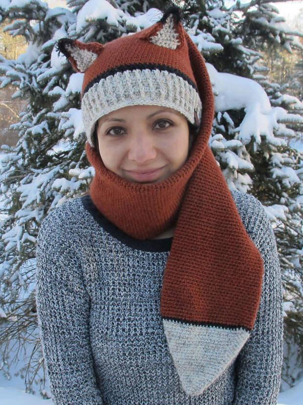 Шарф и шапка для лисички вязание, новый год, подарки