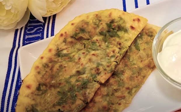 Когда для выпечки нет мяса, делаем тесто с обильной зеленью и получается так же вкусно