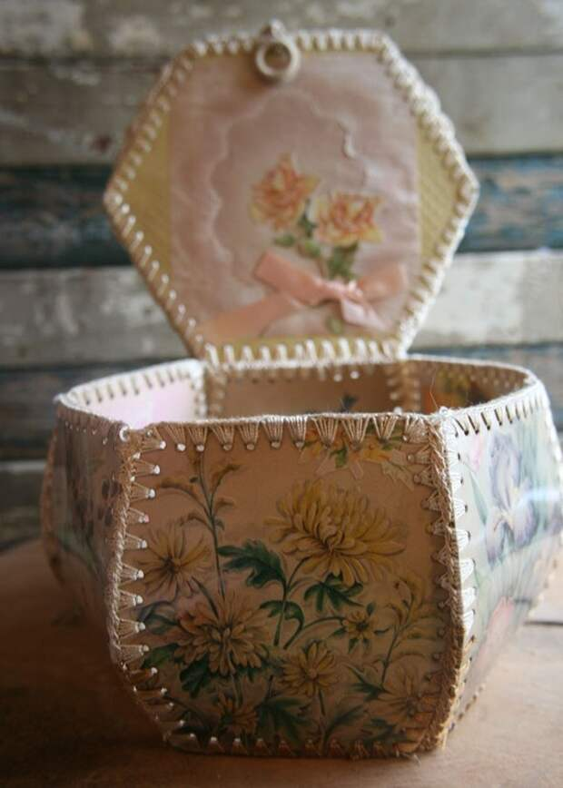 Старинные открытки Корзина или контейнер - ручной - потертый шик и романтический