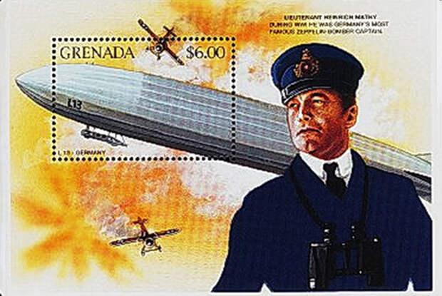 Почтовая марка Гренады с изображением Генриха Мати и L-13