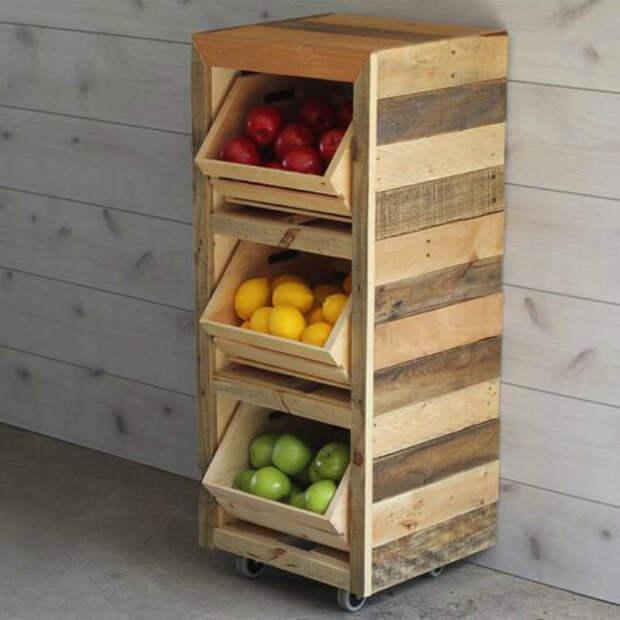 Открытый шкаф для овощей и фруктов. | Фото: Fermer.blog.