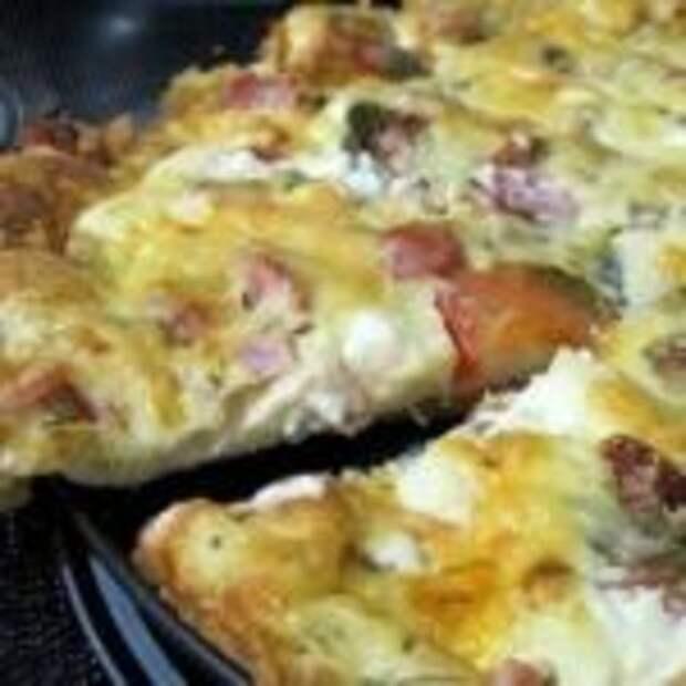Быстрая пицца с ветчиной и салями