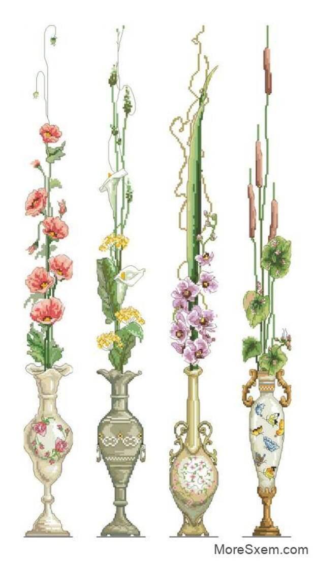 Цветы. Панели с цветами в вазах