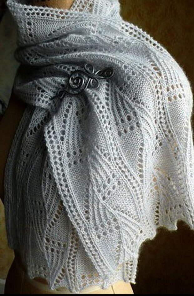 Ажурные узоры спицами для палантинов и шарфиков
