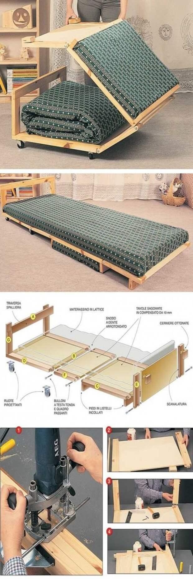 Необычная, но вполне понятная и простая кровать-раскладушка Фабрика идей, интересное, мебель, полезное, трансформеры, эргономичность