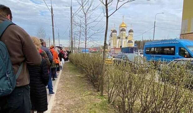 Зато бордюры новые! Так выглядит очередь на маршрутку в Новой Москве