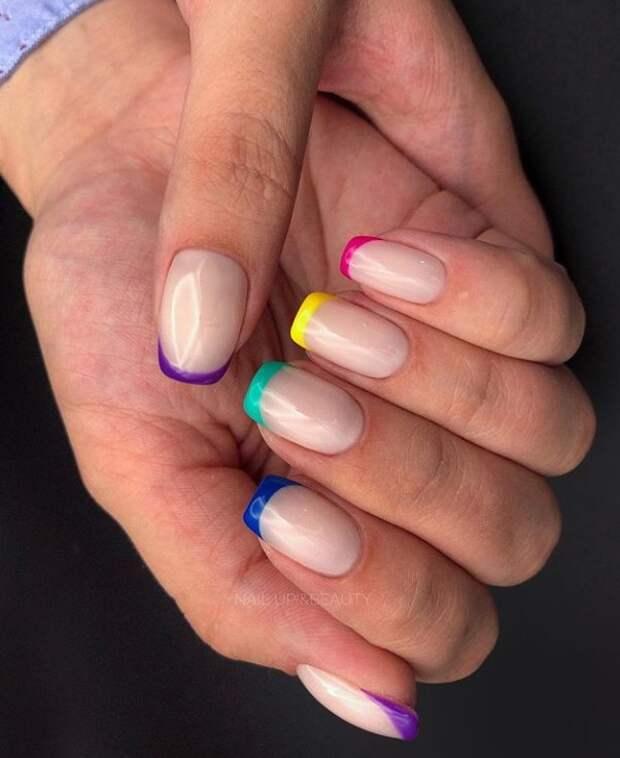 разноцветный френч фото 3