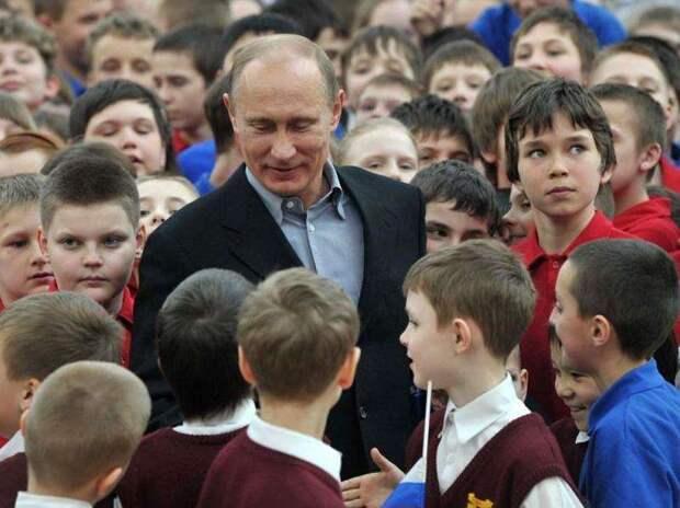 Путин преподал урок детям
