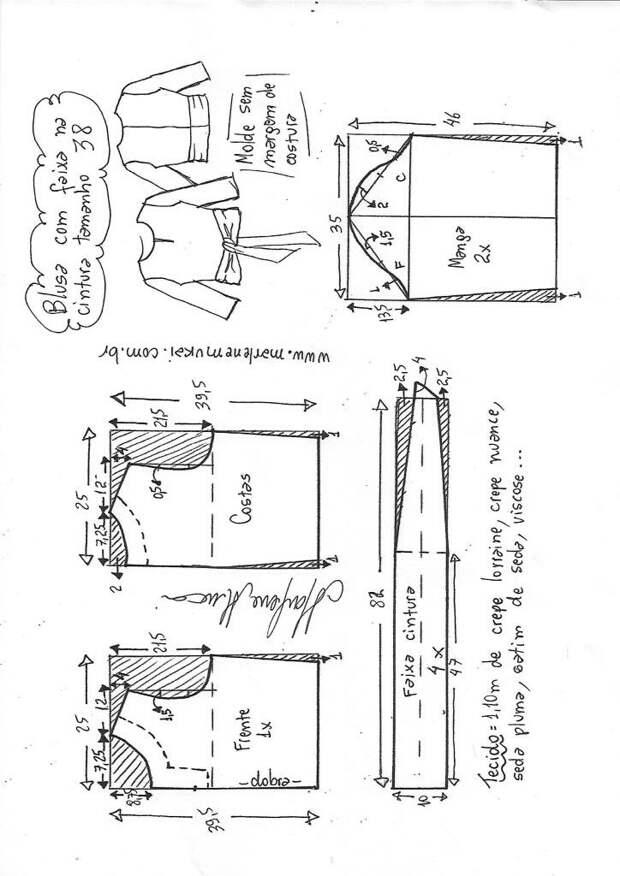 Выкройки блузы с поясом