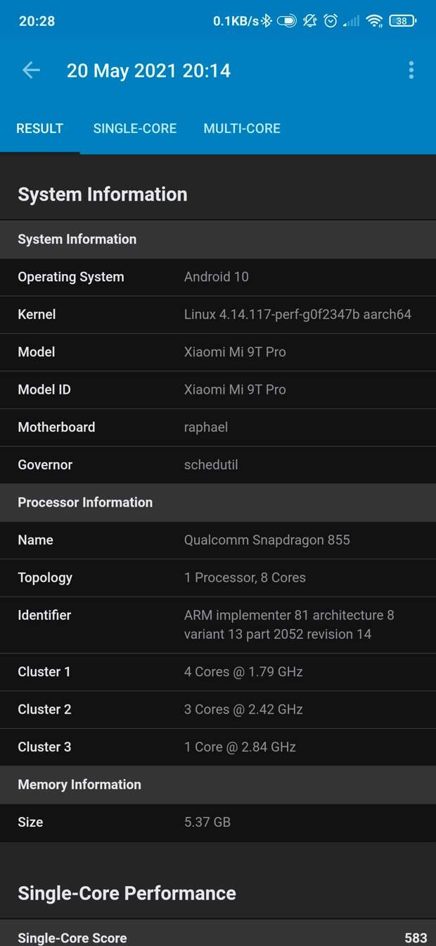 Android phone hardware properties by Geekbench 5