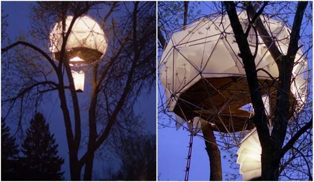 Дом-«фонарик» можно установить на любом крепком дереве за несколько часов («Tree House», Висконсин).   Фото: coroflot.com.