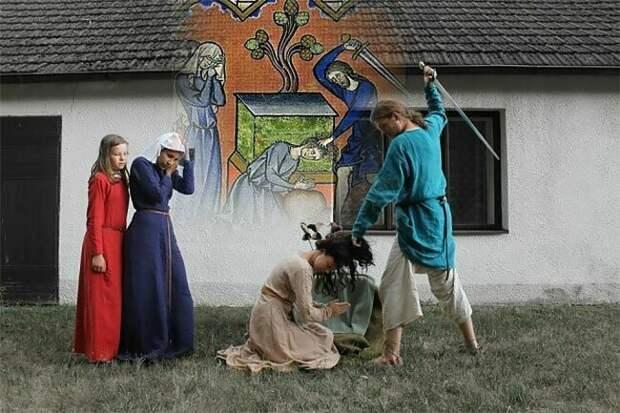 Как чешские студенты старинные иллюстрации воссоздавали воссоздание шедевров, забавно, инсценировка, приколы, студенты, студенты отрываются, чехия, юмор