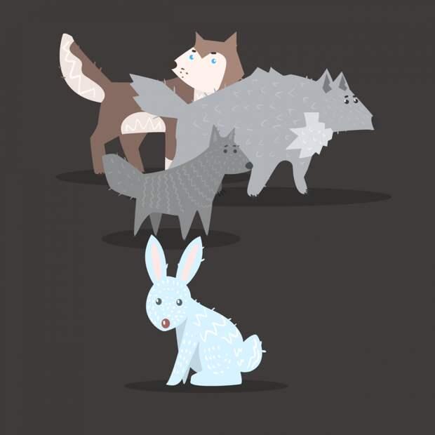 Анекдот про зайца и стаю голодных волков
