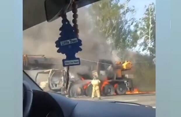 На рязанском участке М-5 сгорел автокран