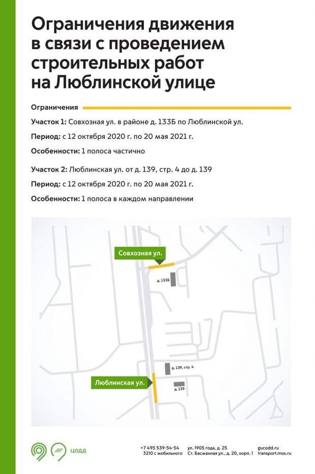 Ограничения на Люблинской улице / Инфографика ЦОДД