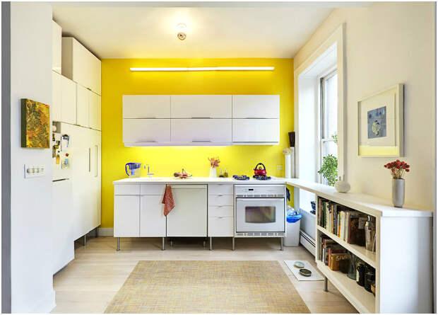 Выделение рабочей зоны с помощью жёлтой стены
