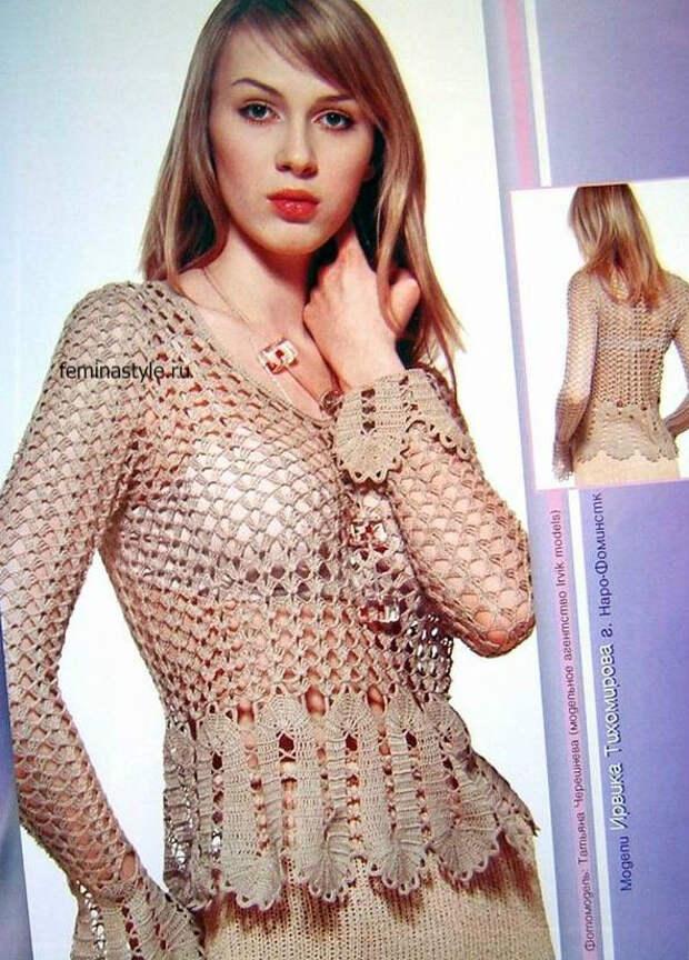Блузка с брюггским кружевом крючком