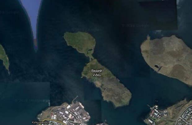 Вид из космоса на остров Видей