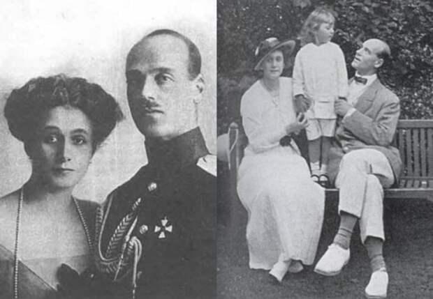 Великий князь Михаил Александрович и Наталья Сергеевна Брасова с сыном Георгием   Фото: liveinternet.ru и radikal.ru