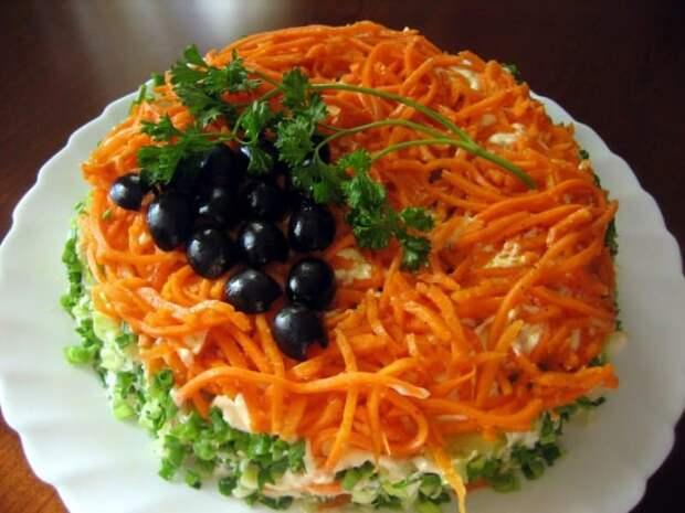 Салат с копчёной курицей и морковью: пикантный салат с курицей и острой морковкой