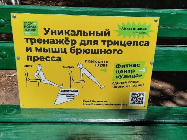 Скамеёка как тренажер тренировки в парке