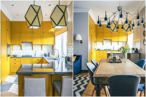 Сочетание жёлтого кухонного гарнитура и синих акцентных деталей