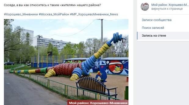 Фото дня: «динозавр» обитает на детской площадке по проспекту Маршала Жукова