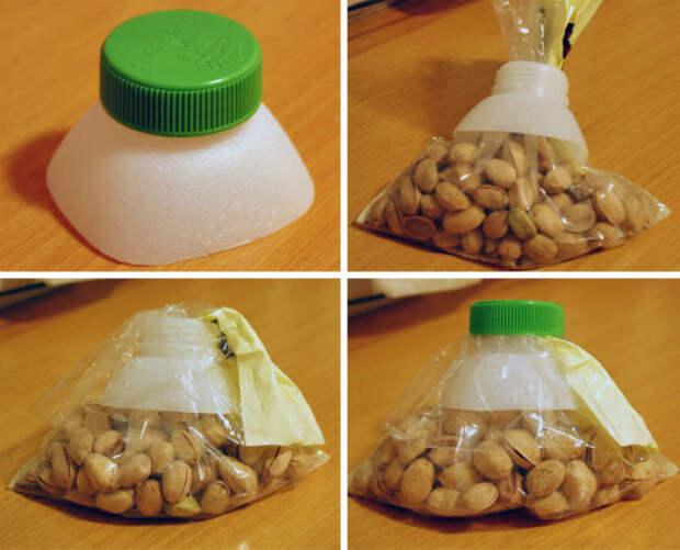 Горлышко пластиковой бутылки, как фиксатор для пакетов.