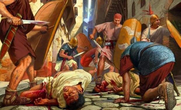 Резня на улицах Рима. Картина современного художника