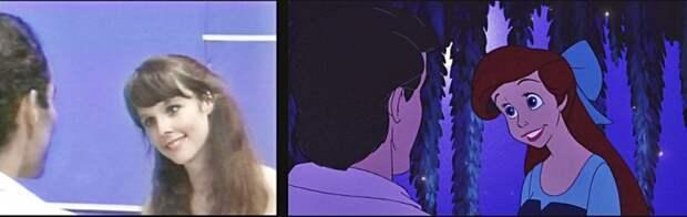 актеры с которых рисовались Русалочка, актриса с которой рисовалась Русалочка, настоящая русалочка Ариэль и принц Эрик, русалочка Ариэль в реальной