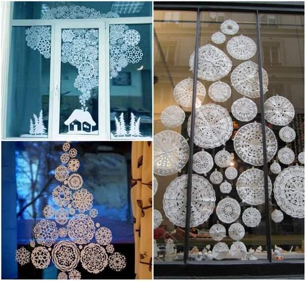 Как украсить дом бумажными снежинками