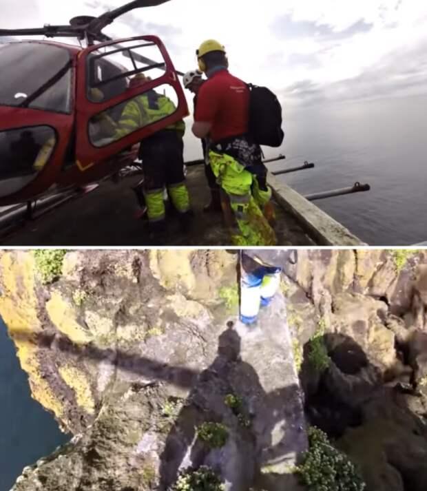 Один не верный шаг и можно оказаться среди вод океана (Thridrangar Lighthouse, Исландия). youtube.com/ © Arnar Ragnarsson.