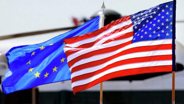 Флаги ЕС и США.АРхивное фото.