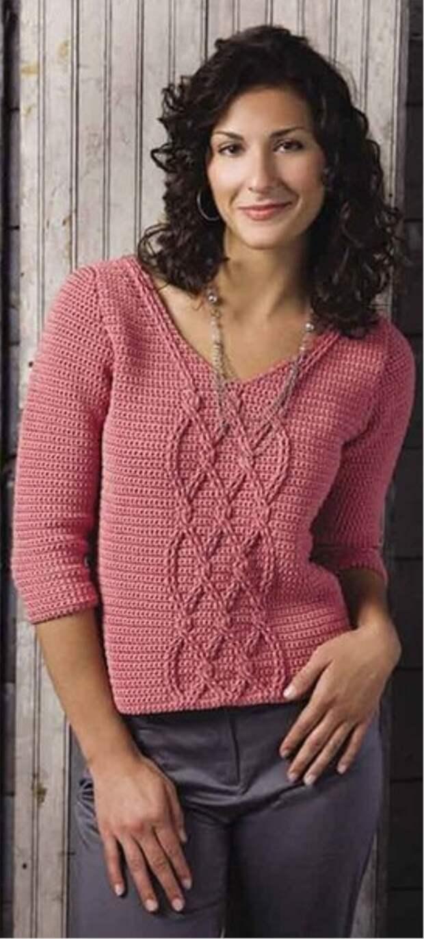Пуловер с косами - вязание крючком