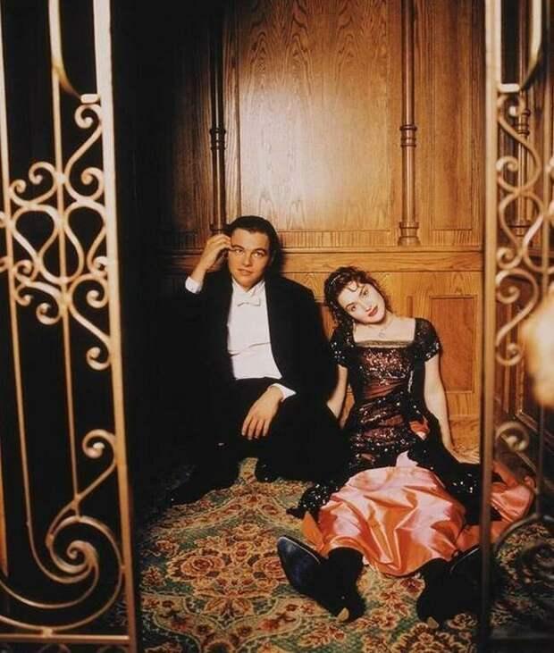 """Леонардо ДиКаприо и Кейт Уинслет на съемках """"Титаника"""", 1996 год  история, люди, фото"""