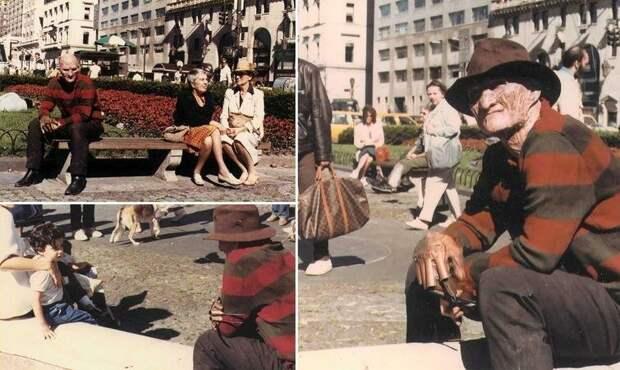 """Роберт Энглунд на съемках фильма """"Кошмар на улице Вязов 2: Месть Фредди"""", 1985 год  история, люди, фото"""