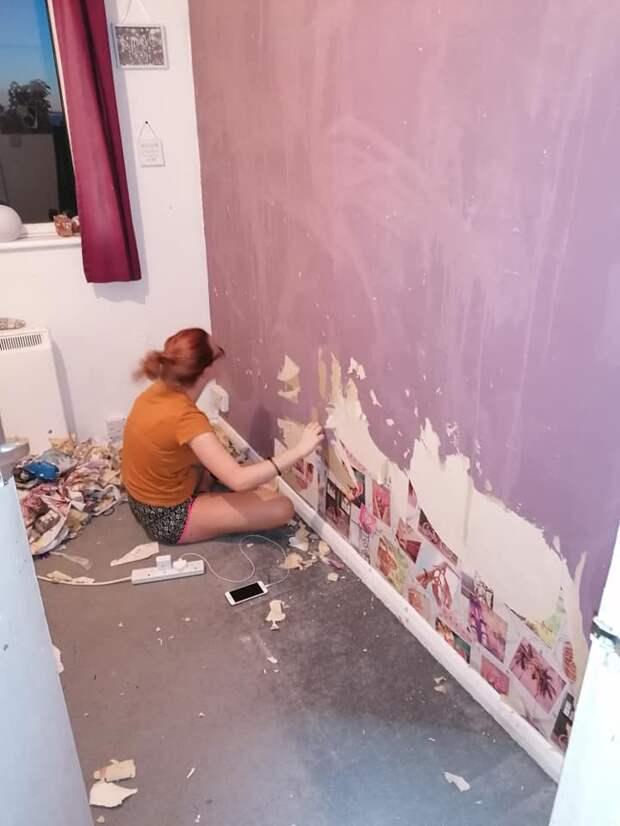 Девочка-подросток сорвала в комнате обои, решив самостоятельно сделать ремонт
