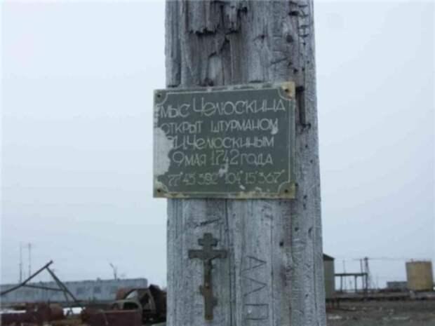 Бревно как знак самой северной точки Евразии
