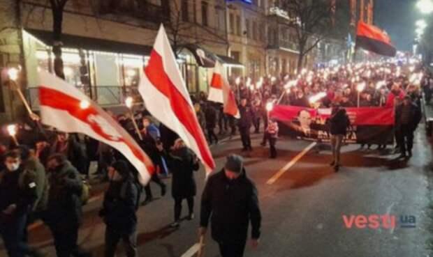 БЧБ-оппозиция на бандеровском марше в Киеве