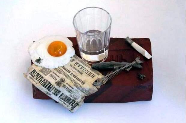 Натюрморт: яшма, янтарь, серебро (из него в том числе – газета), хрусталь, горный хрусталь, кварц.