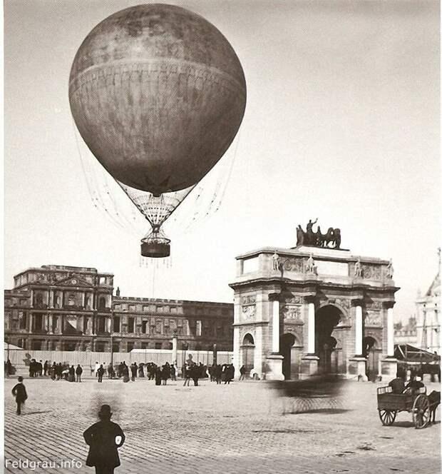 Воздушный шар в центре Парижа, Франция, 1878 г. история, люди, фото