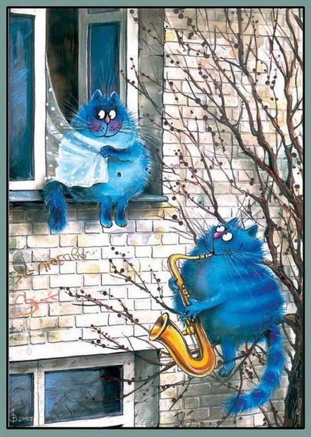 20 выразительных котиков синего цвета от художницы из Минска