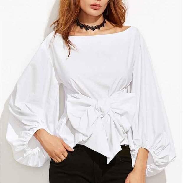 Модные блузки с пышными рукавами, как и с чем их носить